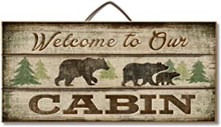 Welcome to Our Cabin Bear and Lodge Custom Wood Signs Design Hanging Gift Decor for Home Coffee House Bar 5 x 10 Inch