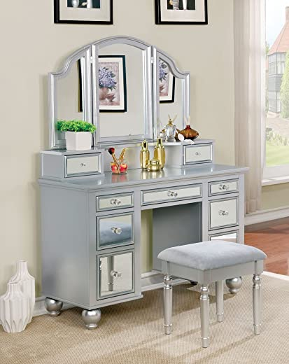 B073VYS94J✅Furniture of America CM-DK6162SV Tracy Silver Vanity with Stool