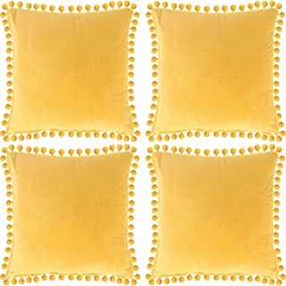 Decorative Velvet Yellow Throw Pillow Covers with Pom Poms Pillow Case Cushion Covers for Couch Sofa Home Decor 18 x 18 Inch, Set of 4 (Style B)