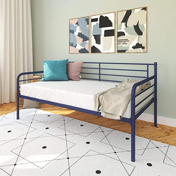 DHP Noa Metal Daybed Sofa Bed With Under Bed Clearance Twin Size Frame Blue