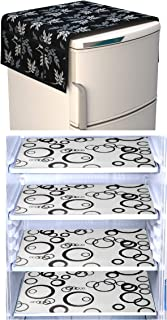 Factcore Premium Quality Combo of Exclusive Decorative Kitchen Combo Fridge Top Cover(Black Leaf), 4 Pcs Fridge Mats (Blac...