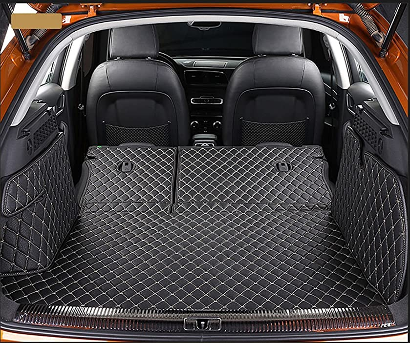 Worth-Mats 3D Full Coverage Waterproof Car Trunk Mat for Porsche Cayenne 2011-2017 with block net on the left side of trunk - Black