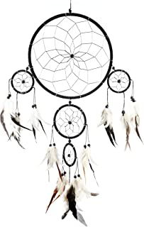 Pink Pineapple Handmade Bohemian Dream Catcher Ethical Hanging Black and Silver Dreamcatcher Wall Art with Black and White...