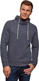 oodji Ultra Men's Basic Sweatshirt with Drawstring Cowl Collar