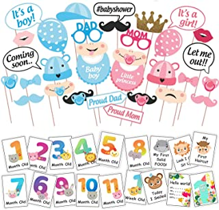 WOBBOX Baby Shower Combo of Photo Booth Party Props and Milestone Cards - Combo DD
