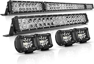 """AutoFeel LED Light Bar Kit, OSRAM Chips 52 Inch + 22 Inch 32000LM Flood Spot Beam Combo White LED Light Bars + 4PCS 4"""" LED Light Pods Combo 6000K Fit for Truck UTV Boat"""