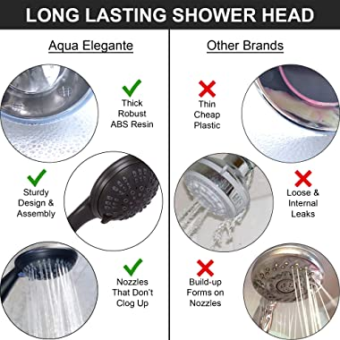 6 Function Luxury Handheld Shower Head - Adjustable High Pressure Rainfall Spray With Removable Hand Held Rain Showerhead For