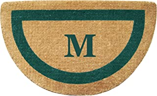 """Heavy Duty 22"""" x 36"""" Coco Mat, Green Single Picture Frame Monogrammed M, Half Round"""