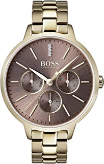 Hugo Boss Black Brown Dial Ionic Light Gold Plated Steel Watch For Women