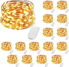 CLY 10ft 16 Pack Fairy Lights, 30 LEDs Waterproof Outdoor Copper Wire String Lights, Battery Operated (Included) Firefly S...