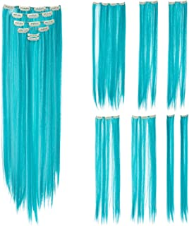SWACC 7 Pcs Full Head Party Highlights Clip on in Hair Extensions Colored Hair Streak Synthetic Hairpieces (22-Inch Straight, Teal Blue)