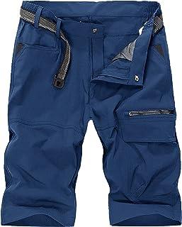 KEFITEVD Men's Outdoor Quick Dry Cargo Shorts Breathable Climbing Safari Shorts Multi-Pockets Pants