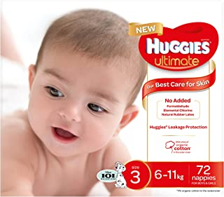 Huggies Ultimate Nappies, Unisex, Size 3 (6-11kg), 72 Count