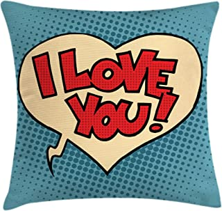 Ambesonne I Love You Throw Pillow Cushion Cover, Pop Art Style Retro Comic Strip Love Bubble Cartoon Graphic, Decorative Square Accent Pillow Case, 18