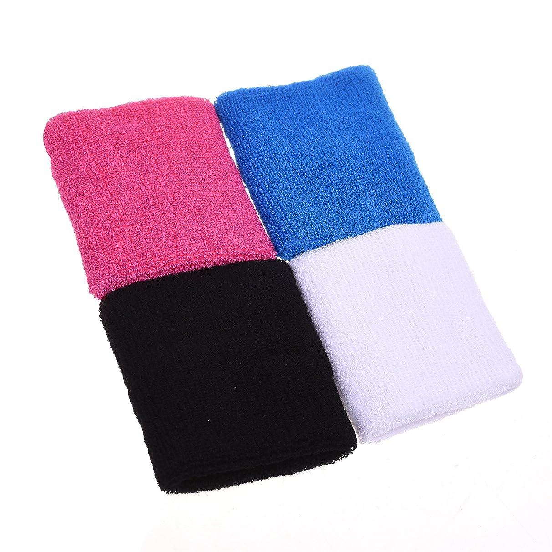 4 pair of COSMOS ? Pink/Black/White/Light Blue cotton sports basketball wristband / sweatband wrist sweat band/brace