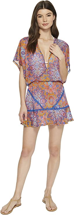 Luli Fama - Candela Playera Stitched V-Neck Ruffle Dress