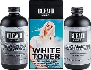 Bleach Lodon Silver Shampoo x 250ml & Bleach London Silver Conditioner x 250ml & Bleach London White Toner Kit by Bleach London