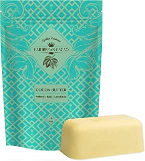 Caribbean Cacao Unrefined Cocoa Butter - 1 LB Rich Body Butter Bar for Stretch Marks, Dry Skin, Acne, and Sensitive Skin -...