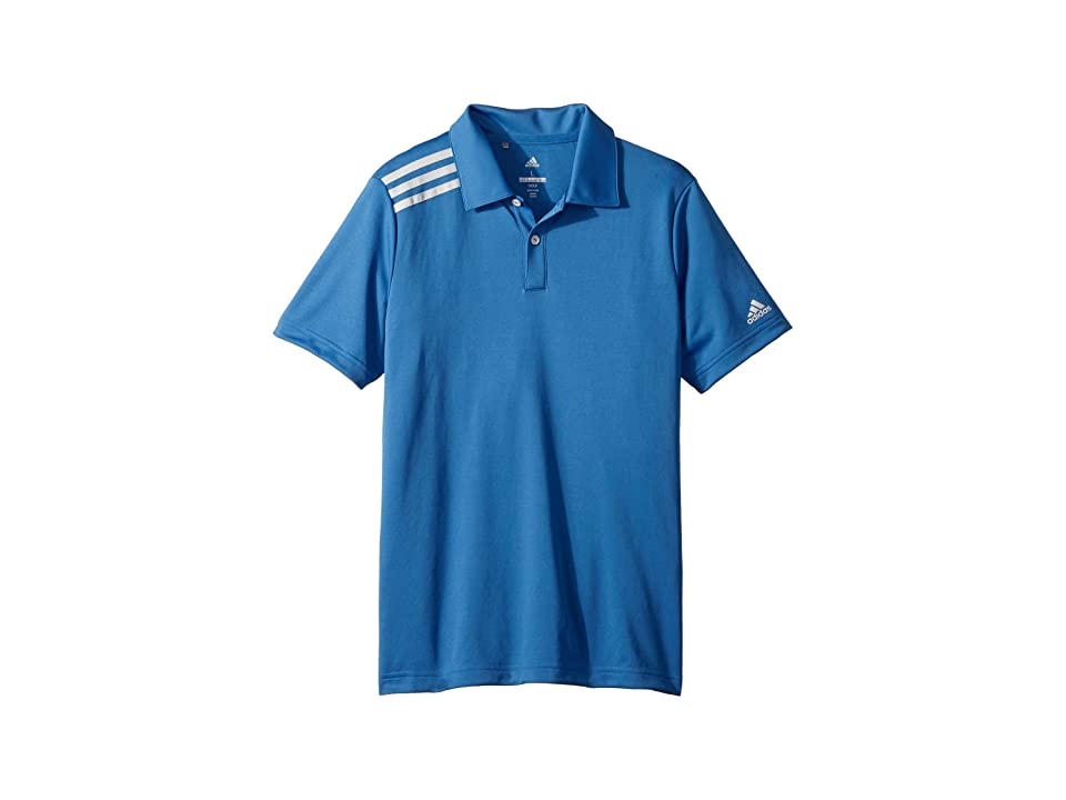 Image of adidas Golf Kids 3 Stripe Polo (Big Kids) (Trace Royal) Boy's Short Sleeve Pullover