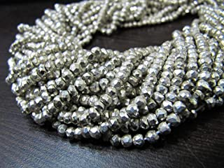 Beautiful Silver Pyrite Rondelle Faceted Strands, Natural Pyrite Gemstone Strands Silver color, Semi Precious beads in Wholesale Rates