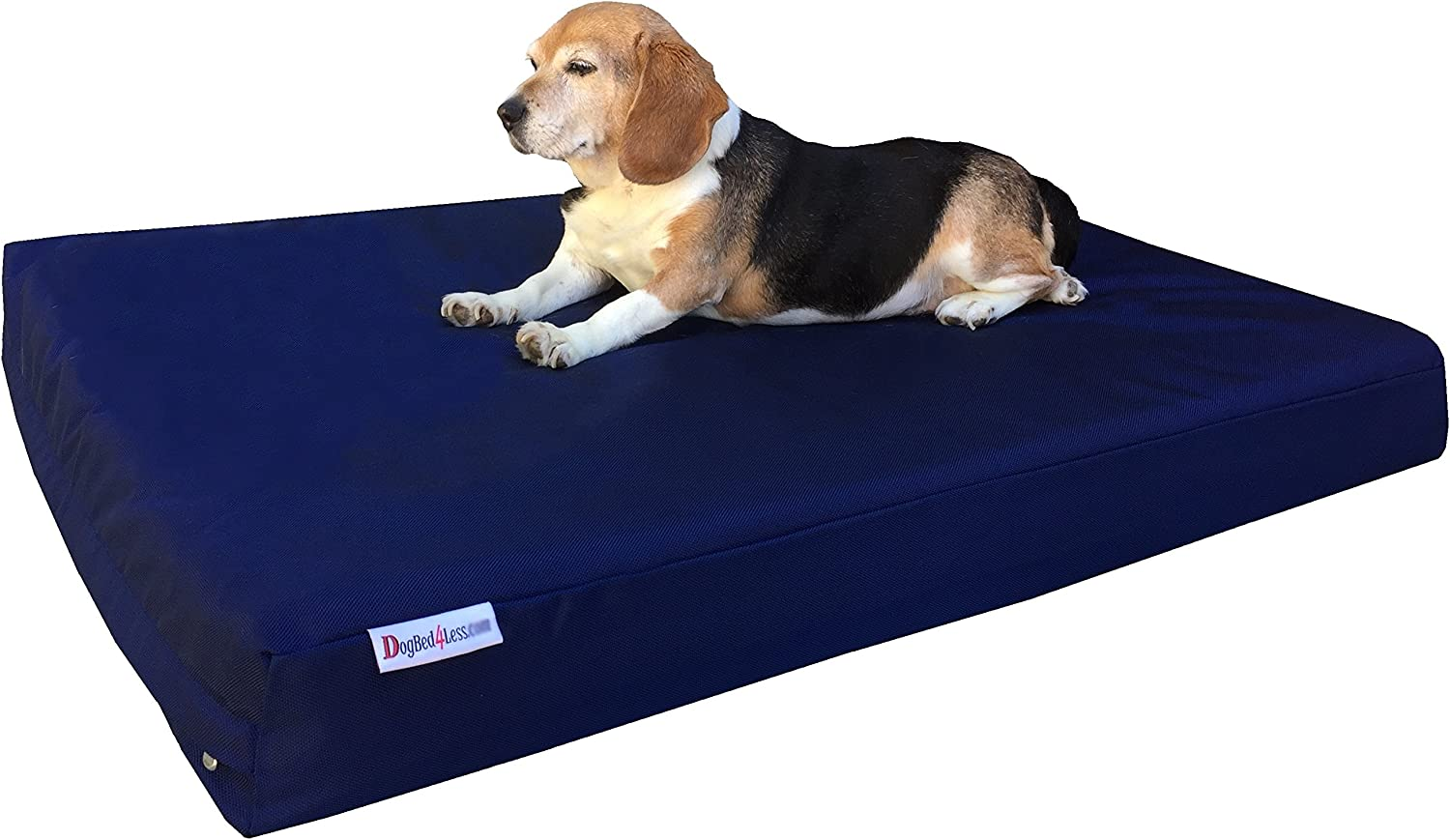 Dogbed4less Orthopedic Dog Bed with Memory Foam for Medium Large Pet, Waterproof Liner with Strong Ballistic Nylon bluee External Cover, 41X27X4 Inch (Fit 42X28 Crate)