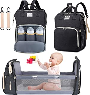 3 in 1 Diaper Bag Backpack with Changing Station, NIUTA 2021 Travel Bassinet Foldable Baby Bed with Insulated Pocket, Baby Bag Portable Crib, Large Capacity, Waterproof(Dark Grey)