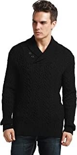 PrettyGuide Men's Shawl Collar Sweater Button Cable Knit Pullover Sweater Tops