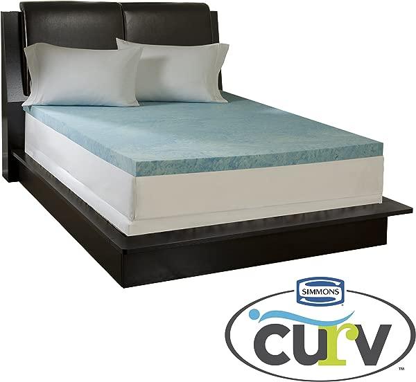 Simmons Curv 3 Inch Flat Gel Memory Foam Mattress Topper Queen