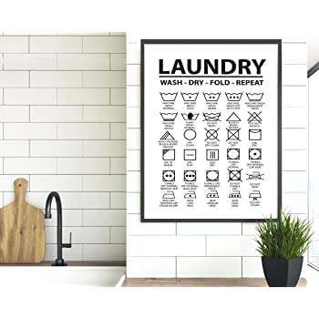 Amazon Com Timprint Laundry Symbols Wall Art Laundry Symbols Print Laundry Room Laundry Decor Laundry Room Signs Laundry Icons Laundry Guide Print Framed Print Wall Art Posters Prints