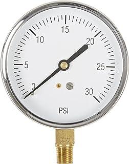 "Sponsored Ad - PIC Gauge S101D-354C 3.5"" Dial, 0/30 psi Range, 1/4"" Male NPT Connection Size, Bottom Mount Single Scale Dr..."