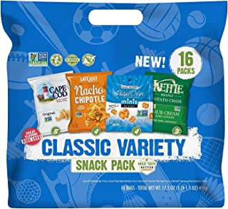 Snyder's-Lance Variety Packs Classic Snack Pack with Pretzel Crisps, Cape Cod, Kettle Brand Potato Chips & Late July Tortilla Chips, 16 Count