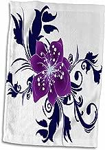 3D Rose Pretty Purple Flower with Blue Flourishes Design Hand Towel, 15 x 22