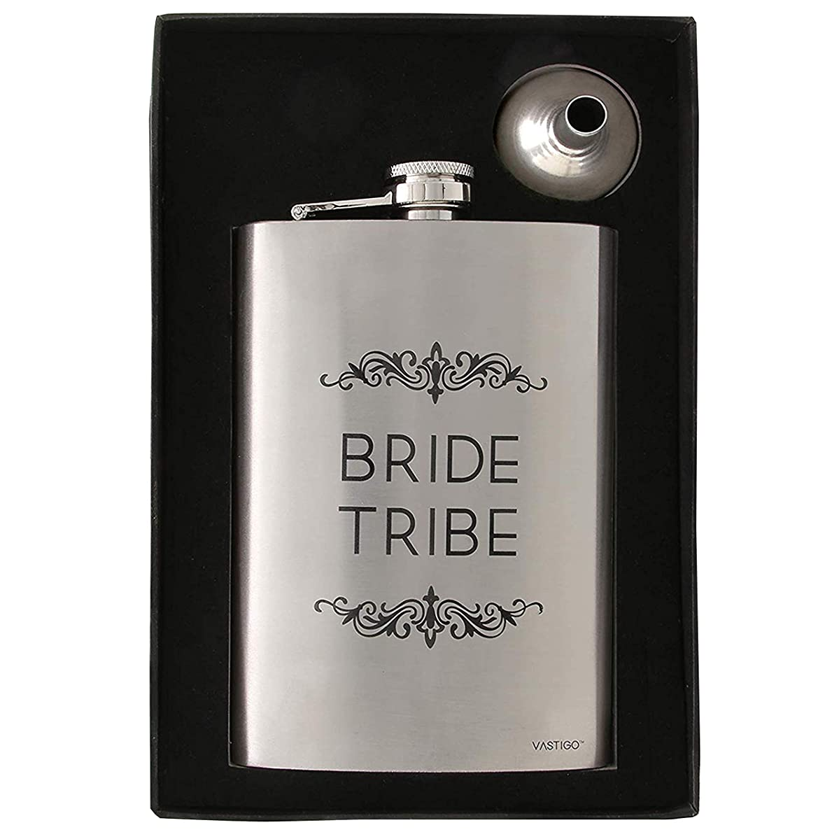 Vastigo Stainless Steel 8 oz Flask for Women w/Bride Tribe Slogan also included Free Funnel and Gift Box – Stainless