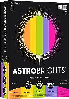 "Wausau 21289 Astrobrights Color Paper, 8.5"" x 11"", 24 lb / 89 gsm, ""Happy"" 5-Color Assortment, 500 Sheets"
