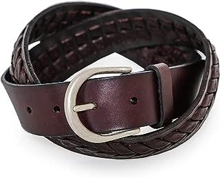 Hackett Men's Leather Middle Plait Belt Brown