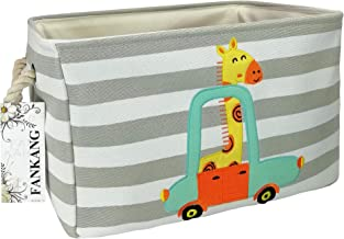 FANKANG Rectangular Fabric Storage Bin Toy Box Baby Laundry Basket with Flamingo Prints for Kids Toys and Nursery Storage, Baby Hamper, Book Bag, Animals Storage Toy Boxes, Gift Baskets(Giraffe)