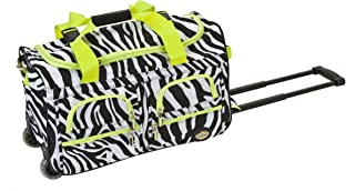 Luggage Rolling 22 Inch Duffle Bag, Lime Zebra, One Size