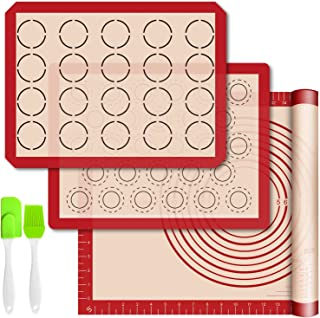 Silicone Baking Mats with Measurement - Set of 3 Sheet (1 Large 2 Half) Non-stick Pastry Mat for Rolling Dough Kitchen Kne...