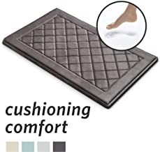 MICRODRY ExtraThick SoftLux Charcoal Infused Diamond Embroidered Memory Foam Bath Mat with GripTex Skid Resistant Base (21...