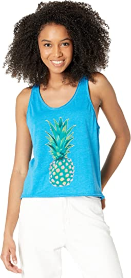 """""""Pineapple"""" Recycled Vintage Jersey Cropped Racerback Tank"""