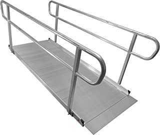 8' Aluminum Wheelchair Entry Ramp & Handrails Solid Surface Scooter Mobility Access