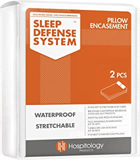 HOSPITOLOGY PRODUCTS The Original Sleep Defense System - Waterproof/Bed Bug/Dust Mite Proof - PREMIUM Zippered Pillow Enca...