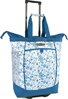 Pacific Coast Signature Large Rolling Shopper Tote Bag, Blue Daisy