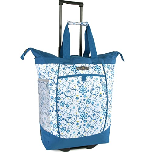 Pacific Coast Signature Large Rolling Shopper Tote Bag, Blue Daisy, One Size
