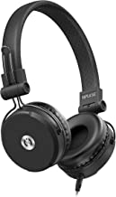 MuveAcoustics Impulse Wired On-Ear Headphones, High Performing Audio & Rich Bass Compact Over The Ear Headset with in-Line Microphone & Detachable Cable, Black