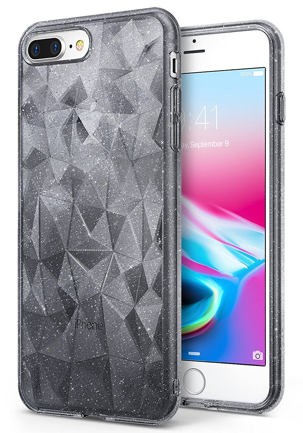 Ringke AIR Prism Compatible with iPhone 8 Plus Case, Sparkle 3D Contemporary Design Chic Ultra Lightweight Geometric Stylish Pattern Protective TPU Drop Resistant Cover - Glitter Gray