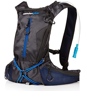 Camden Gear Zeyu Hydration Backpack Running, with 1.5/2L Water Bag Pack Black/Blue