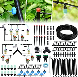 Jeteven 98Ft/30m Drip Irrigation Hydroponics Supplies System, 126pcs Drippers Kit Tubing Accessories DIY Saving Water for ...