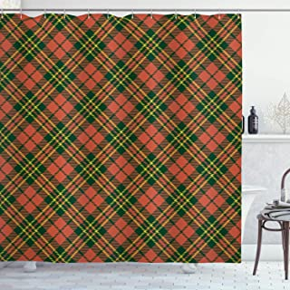 Ambesonne Checkered Shower Curtain, Irish Tartan Plaid Motifs in Christmas Colors Geometrical Stripes, Cloth Fabric Bathroom Decor Set with Hooks, 75
