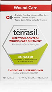 Terrasil Infection-Control Wound Care Ointment - Plus Medical-Grade Bandaging - 25g Tube + 1 Bandage Roll